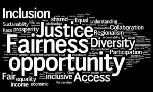 word cloud: justice fairness opportunity diversity