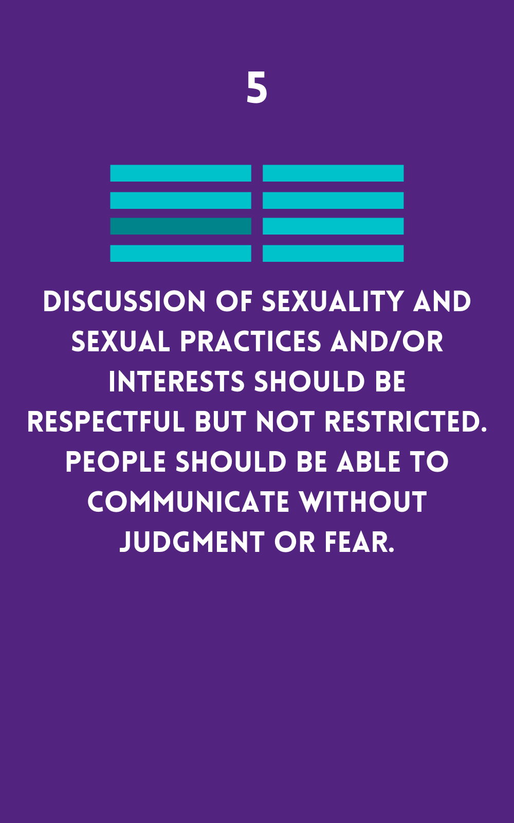Discussions should be respectful and without judgment.